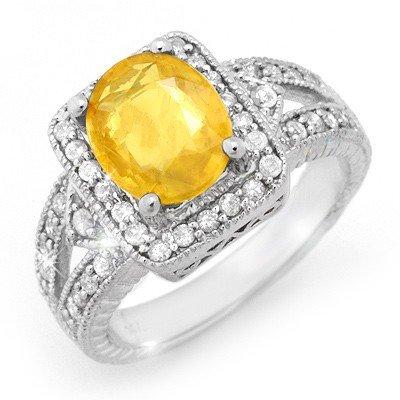 Genuine 3.55 ctw Sapphire & Diamond Ring 14K White Gold