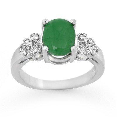 Genuine 3.35 ctw Emerald & Diamond Ring 14K White Gold