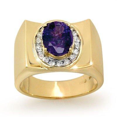 Genuine 2.83ctw Tanzanite & Diamond Men's Ring 10K Gold