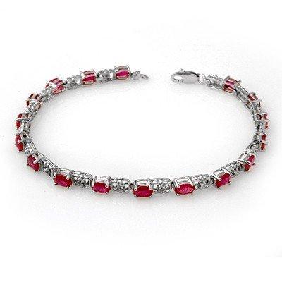 Genuine 7.12 ctw Ruby & Diamond Bracelet 14K White Gold
