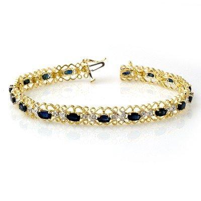 Genuine 7.02 ctw Sapphire & Diamond Bracelet Yellow Gol
