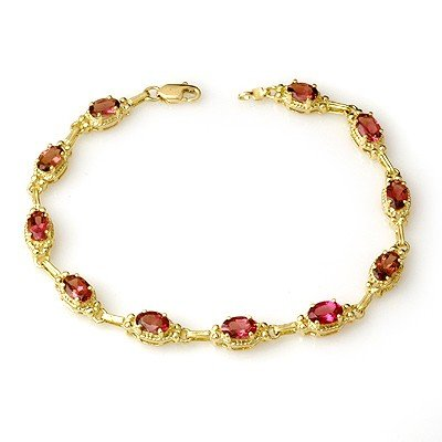 Genuine 4.5 ctw Pink Tourmaline Bracelet 10K Yellow Gol