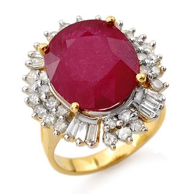 Genuine 10.65 ctw Ruby & Diamond Ring 14K Yellow Gold
