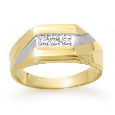 Natural 0.03 ctw Diamond Men's Ring 10K Yellow Gold