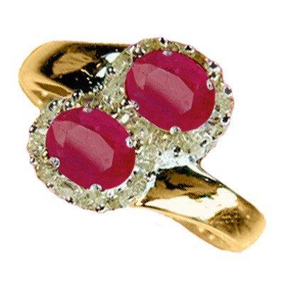 Genuine 1.73 ctw Ruby & Diamond Ring 10K Yellow Gold