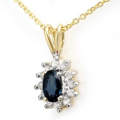 Genuine 0.51 ctw Sapphire & Diamond Pendant 10K Gold