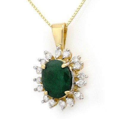 Genuine 4.20 ctw Emerald & Diamond Pendant Yellow Gold