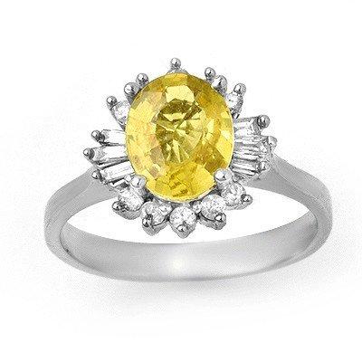 Genuine 2.25 ctw Sapphire & Diamond Ring 14K White Gold