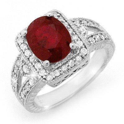 Genuine 3.2 ctw Ruby & Diamond Ring 14K White Gold