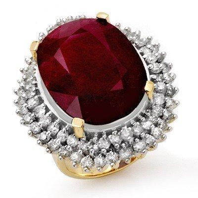 Genuine 31.12 ctw Ruby & Diamond Ring 14k Gold