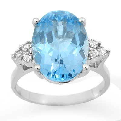 Genuine 6.20 ctw Blue Topaz & Diamond Ring White Gold