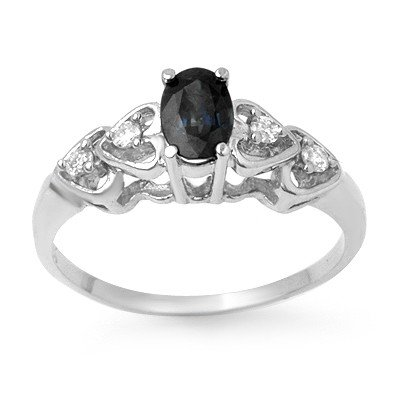 Genuine 0.57 ctw Sapphire & Diamond Ring 10K White Gold