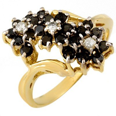Natural 1.25 ctw Black Diamond Ring 10K Yellow Gold