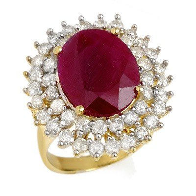 Genuine 9.83 ctw Ruby & Diamond Ring 14K Yellow Gold