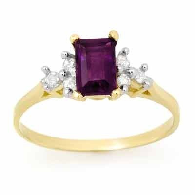 Genuine 1.14ctw Amethyst & Diamond Ring 10K Yellow Gold