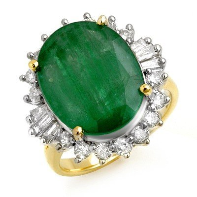 Genuine 10.7 ctw Emerald & Diamond Ring 14K Yellow Gold