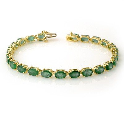 Genuine 14 ctw Emerald Bracelet 10K Yellow Gold
