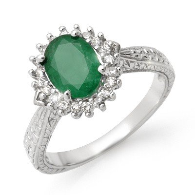 Genuine 2.35 ctw Emerald & Diamond Ring 10K White Gold