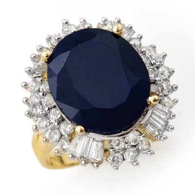 Genuine 16.66 ctw Sapphire & Diamond Ring Yellow Gold