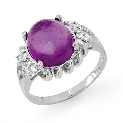 Genuine 4.25 ctw Amethyst & Diamond Ring 10K White Gold