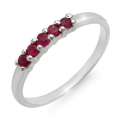 Genuine 0.25 ctw Ruby Ladies Ring 10K White Gold