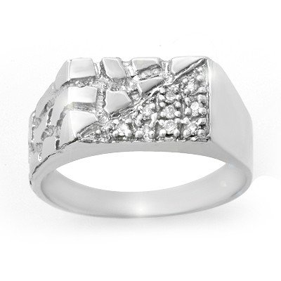 Natural 0.15 ctw Diamond Men's Ring 10K White Gold