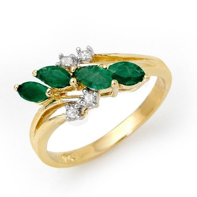 Genuine 0.40 ctw Emerald & Diamond Ring 10K Yellow Gold