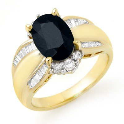 Genuine 3.42ctw Sapphire & Diamond Ring 14K Yellow Gold
