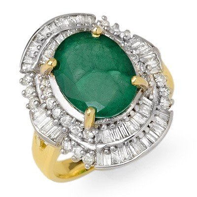 Genuine 5.95 ctw Emerald & Diamond Ring 14K Yellow Gold