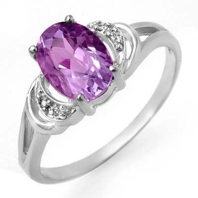 Genuine 1.05ctw Amethyst & Diamond Ring White Gold