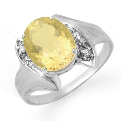 Genuine 1.76 ctw Citrine & Diamond Ring 10K White Gold