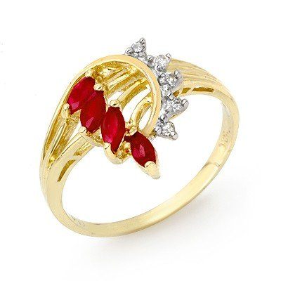 Genuine 0.55 ctw Ruby & Diamond Ring 10K Yellow Gold