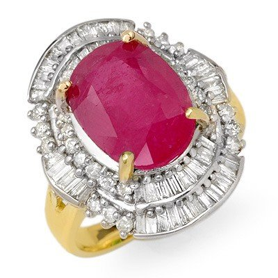 Genuine 5.75 ctw Ruby & Diamond Ring 14K Yellow Gold