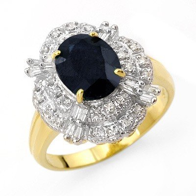 Genuine 3.20 ctw Sapphire & Diamond Ring 14K Yellow Gol
