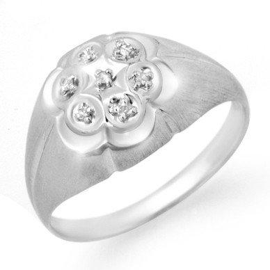 Natural 0.08 ctw Diamond Men's Ring 10K White Gold