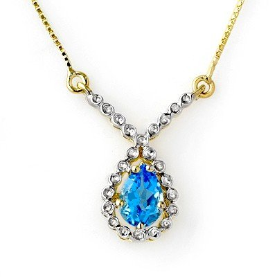 Genuine 1.05 ctw Blue Topaz Necklace 10K Yellow Gold