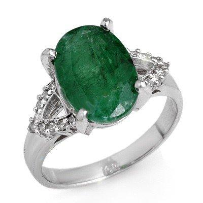 Genuine 4.44 ctw Emerald & Diamond Ring 10K White Gold