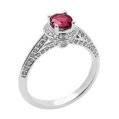 GENUINE 1.09 ctw DIAMOND and RUBY RING 14K WHITE GOLD