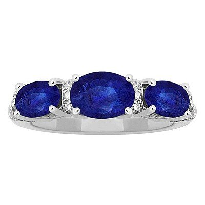 GENUINE 1.97 ctw DIAMOND and BLUE SAPPHIRE RING 14K WHI