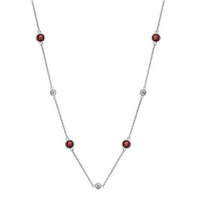 GENUINE 0.95 ctw DIAMOND and RUBY  NECKLACE 14K WHITE G