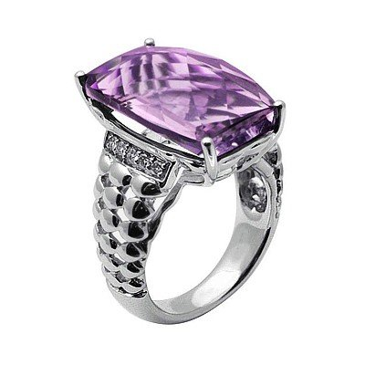 GENUINE 15.1 ctw DIAMOND and AMETHYST RING 14K WHITE GO