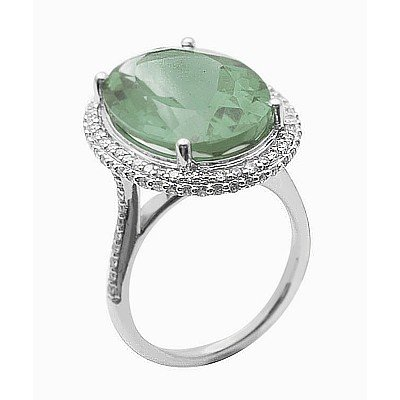 GENUINE 11.55 ctw DIAMOND and GREEN AMETHYST RING 14K W