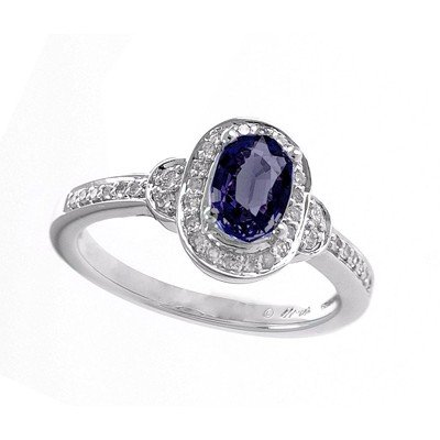 GENUINE 1.02 ctw DIAMOND and BLUE SAPPHIRE RING 14K WHI
