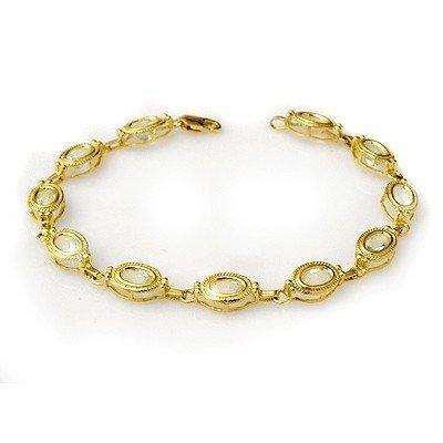 Genuine 5.4 ctw Aquamarine Bracelet 10K Yellow Gold
