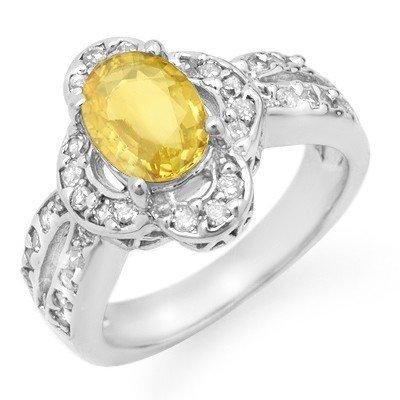 Genuine 3.5 ctw Sapphire & Diamond Ring 14K White Gold