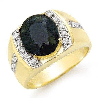 Genuine 6.33 ctw Sapphire & Diamond Men's Ring 10K Gold