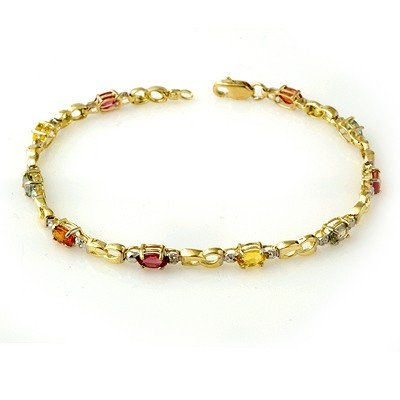 Genuine 2.51 ctw Multi-Sapphire & Diamond Bracelet Gold