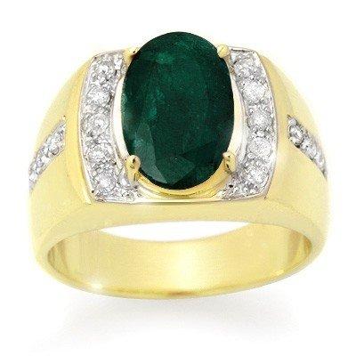 Genuine 4.58 ctw Emerald & Diamond Men's Ring 10K Gold