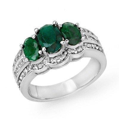 Genuine 3.5 ctw Emerald & Diamond Ring 14K White Gold