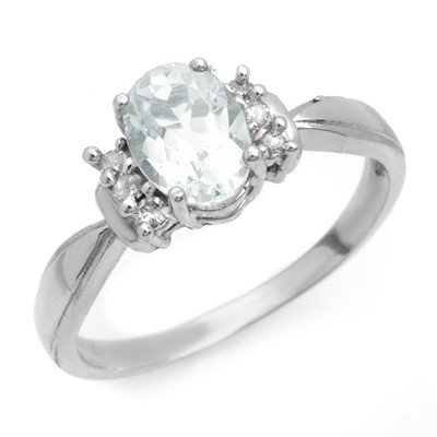 Genuine 1.06 ctw Aquamarine & Diamond Ring 10K Gold